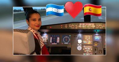 Hondureña paso de limpiar pisos en España  a ser azafata de vuelos